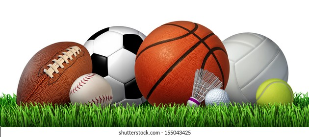 Recreation leisure sports equipment on grass with a football basketball baseball golf soccer tennis ball volleyball and badminton birdie as a symbol of healthy physical activity isolated on white.