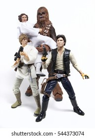 Recreation of a promotional photo for Star Wars: Luke Skywalker, Princess Leia Organa, Han Solo and Chewbacca the Wookiee - Hasbro Black Series 6 inch figures