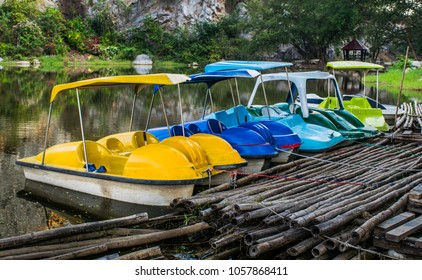 Recreation in rainbow colored paddle boats
