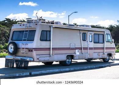 Recreation Vehicle RV Trip. Class C Motorhome Closeup. Vacation on the American Road.