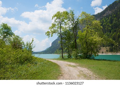 recreational area with sunbathing lawn at lakeside sylvenstein, upper bavaria