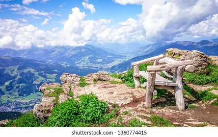 Recreational bench in the mountains with panoramic view