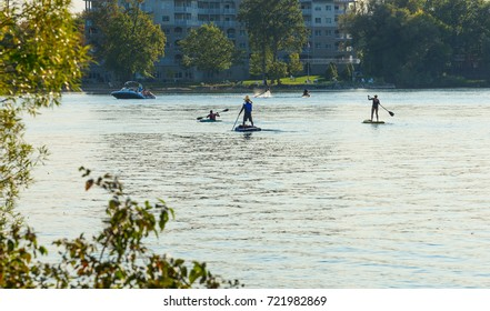 Recreational boating and paddling on Lake Couchiching in Orillia, Ontario