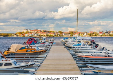 Recreational boats in the harbor of the Swedish city of Karlskrona during summer