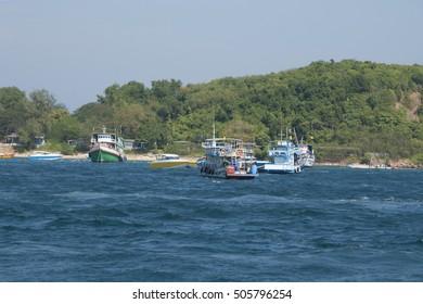 Recreational boats near with Koh-Larn island, Pattaya, Thailand