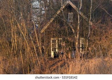 Recreational house behind trees lit by low sunlight. Achterhoek. Gelderland. The Netherlands.