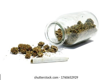 Recreational Marijuana. Fresh Recreational or Medical Marijuana in a transparent storage jar. Cannabis is now legal in many of the United States and Around the world. Isolated on white. Room for text.