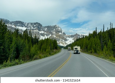 Recreational Vehicle Motorhome on Road Trip to Banff National Park, Summer, Canada