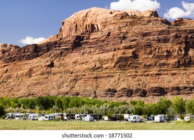 recreational vehicles in a campground in the southwest, USA