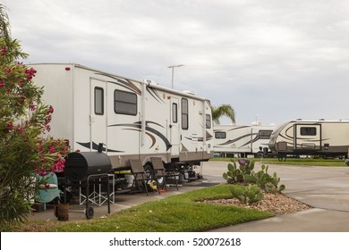 Recreational vehicles at a campsite rv park in southern united states