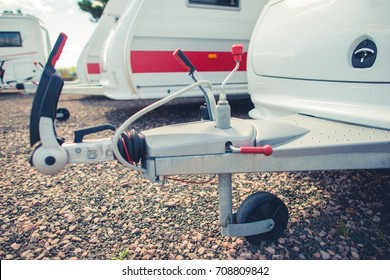 Recreational Vehicles Storage. Travel Trailers and Other RVs in the RV Storage Awaiting New Camping Season.
