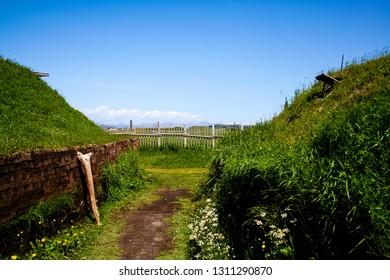 Recreations of Viking longhouses, Lans Aux Meadows, Newfoundland