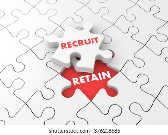 Recruit and retain. Business metaphor with puzzles