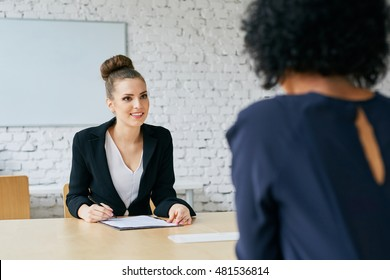 Recruiter asking questions - job interview concept