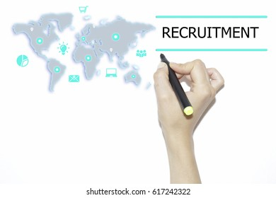 RECRUITMENT concept presented by business woman marker on virtual screen
