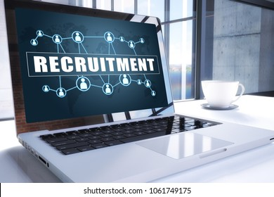 Recruitment text on modern laptop screen in office environment. 3D render illustration business text concept.