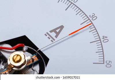 Rectangle Ammeter Amperage Gauge Dial Angle Close Up.
