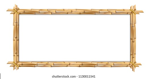 Rectangle brown wooden border frame made of realistic brown bamboo sticks with empty copy space for text or image inside. clip art, banner, poster or photo frame isolated on white background.