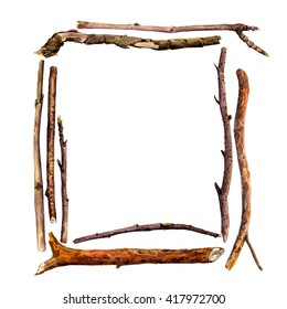 rectangle frame with watercolor wood twigs,isolated nature objects, tree branches, wooden sticks, hand drawn illustration, nature template,forest background
