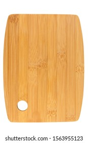 Rectangle shaped bamboo wood kitchen cutting board  isolated on white background.