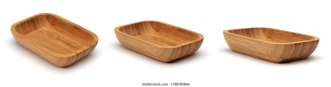 Rectangle wooden empty bowl isolated on white background.
