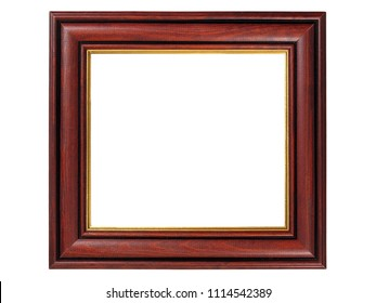 Rectangle wooden picture frame isolated on white background