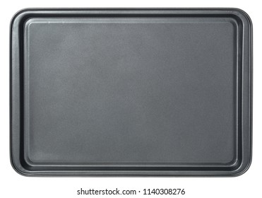 Rectangular black baking tray in oven, isolated on white background. Top view baking 