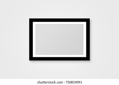 Rectangular black realistic picture frame with copy space mock up on grey background.