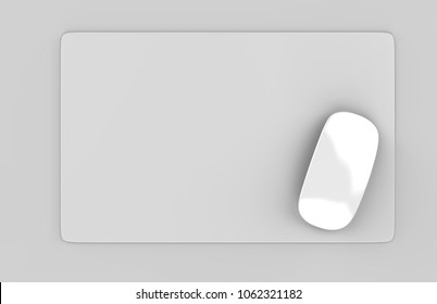 Rectangular Blank mouse pad with computer mouse for branding or design presentation. 3d render illustration.