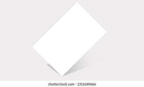 Rectangular blank paper standing on its angle, isolated