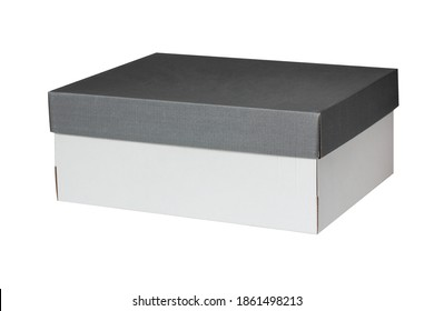 rectangular cardboard box with a dark lid, isolated on a white background. shoebox.
