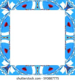 Rectangular frame of colorful abstract pattern with a white empty space inside for your text or image