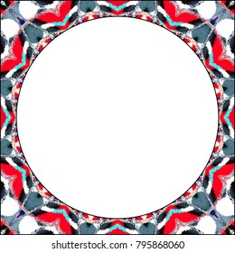 Rectangular frame of colorful abstract pattern with a round white empty space inside for your text or image