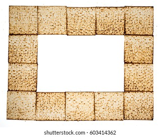 Rectangular frame made of matza - Traditional kosher bread for Passover