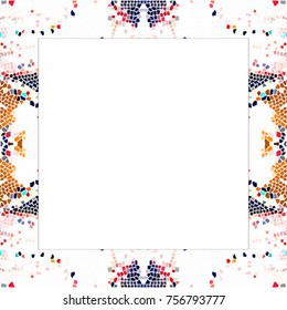 Rectangular frame of stained glass colorful pattern with a white empty space inside for your text or image