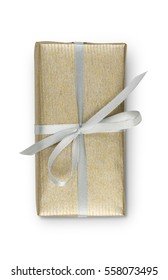 Rectangular Gift box wrapped with golden paper and silver satin ribbon, isolated on white background. Modern present for any holiday, christmas, valentine or birthday