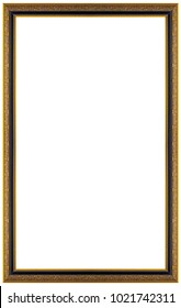 Rectangular gilded wooden Frame Isolated on white background