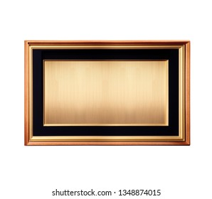 rectangular golden frame isolated, blind metal golden space where you can write