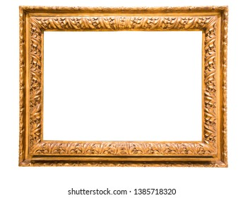 rectangular golden frame for photo on isolated background