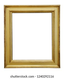Rectangular lacquered wooden retro frame in yellow / golden brown color isolated on white background for text placement.