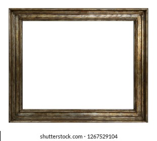 Rectangular lacquered wooden retro frame in brown color isolated on white background for text placement.