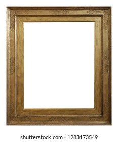 Rectangular lacquered wooden retro frame with carivng and aged patina, isolated on white background. Decorative design of shabby border and copy space for text placement.