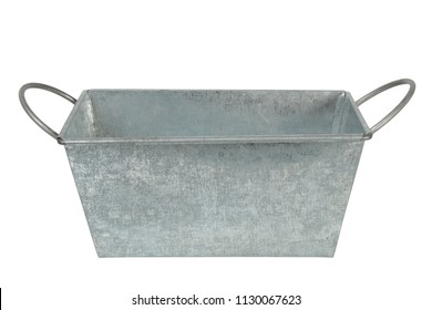 Rectangular metal container islated on white background