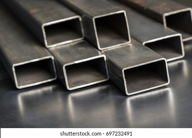 Rectangular metal pipes . Steel materials, construction supplies.