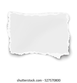 Rectangular paper fragment with soft shadow isolated on white