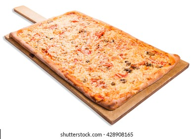Rectangular pizza on a wooden board on a white background