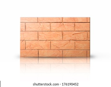 Rectangular placard of brick over white background.