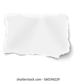 Rectangular ragged torned paper scrap with soft shadow placed on white background.