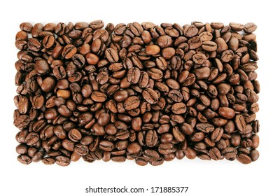 A rectangular shape created with coffee beans on a white background
