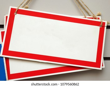 Rectangular sign with a red border. Empty template.